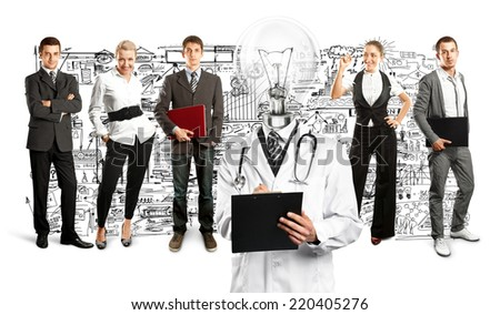Idea concept. Lamp Head doctor and business team against different backgrounds - stock photo
