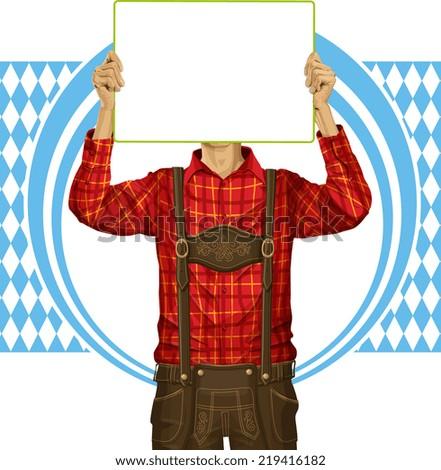 Idea concept. Man with write board in lederhosen on oktoberfest - stock photo