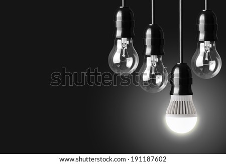 Idea concept on black background