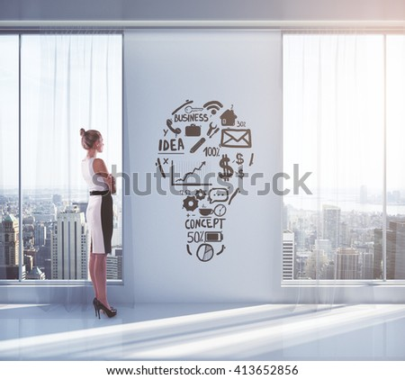 Idea concept with businesswoman looking outside of window in empty interior with New York city view and sketch on wall. 3D Rendering - stock photo