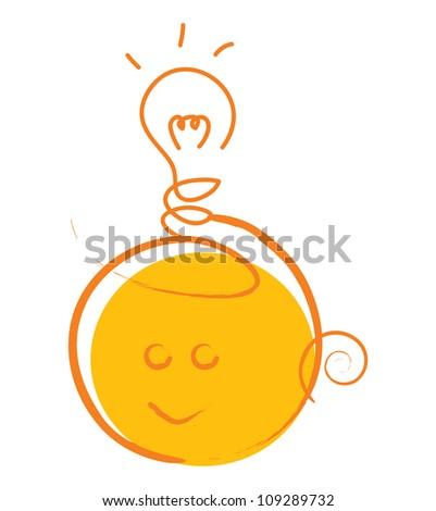 Idea Concept With Cute Head Under The Light Bulb Isolate on White Background - stock photo