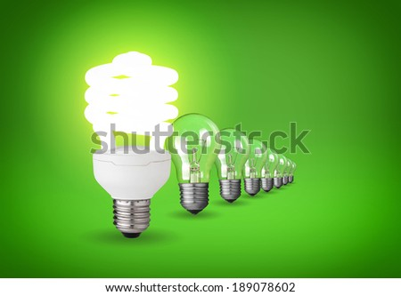 Idea concept with light bulbs on green