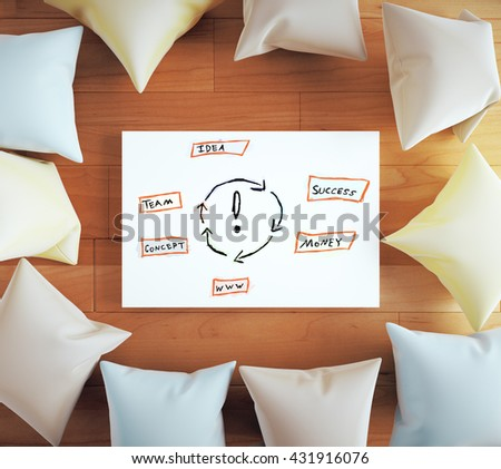 Idea concept with sketch on whiteboard surrounded with colorful pillows on wooden floor. 3D Rendering - stock photo