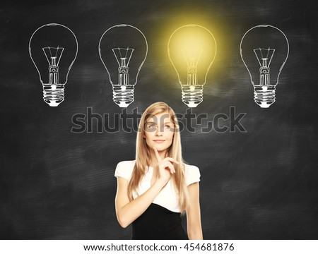 Idea concept with thoughtful businesswoman standing against chalkboard with illuminated drawn light bulbs