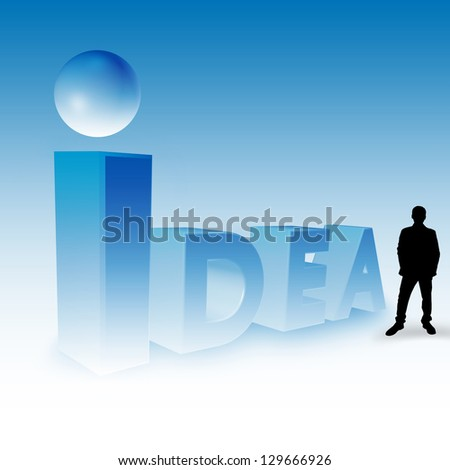 Idea 3D Text With Silhouette Man  ,Mixed Media With 3D Render