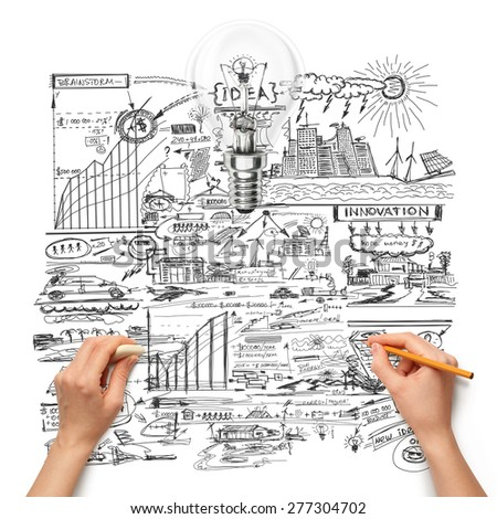 Idea ecology background with lamp, sketch and human hand with pencil - stock photo