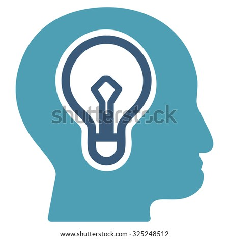 Idea glyph icon. Style is bicolor flat symbol, cyan and blue colors, rounded angles, white background. - stock photo