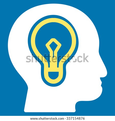 Idea glyph icon. Style is bicolor flat symbol, yellow and white colors, rounded angles, blue background. - stock photo