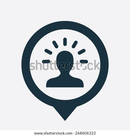 idea icon map pin on white background  - stock photo