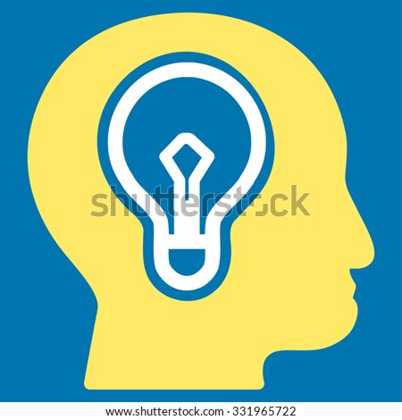 Idea illustration icon. Style is bicolor flat symbol, yellow and white colors, rounded angles, blue background. - stock photo