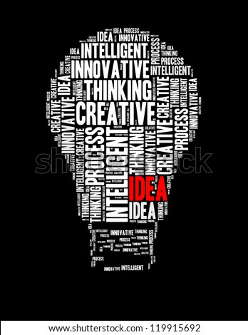 idea info text collage Composed in the shape of bulb - stock photo