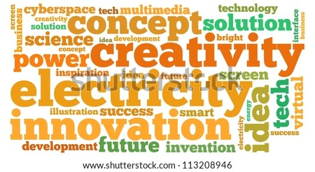 idea info-text graphics and arrangement concept on white background (word cloud) - stock photo