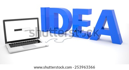 Idea - laptop computer connected to a word on white background. 3d render illustration.