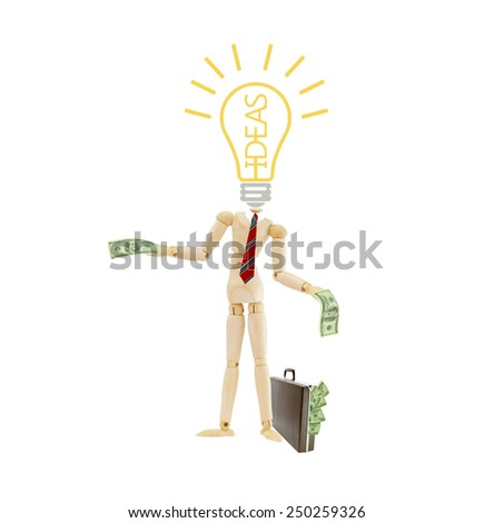 Idea light bulb headless mannequin wearing red striped tie holding one hundred dollar bill standing next to brown briefcase attache case isolated on white - stock photo