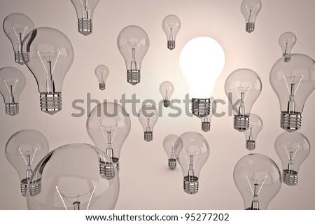 idea light bulbs floating on the air - stock photo