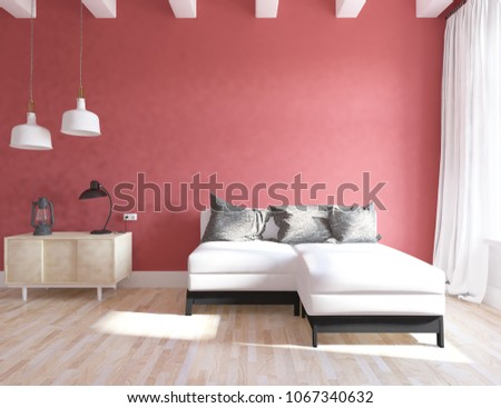 Idea Red Scandinavian Living Room Interior Stock Illustration ...