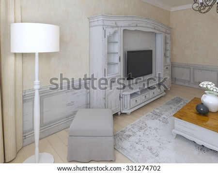 Idea of shabby-chic lounge. 3D render