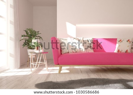 Idea White Room Sofa Summer Landscape Stock Illustration 718267366 ...