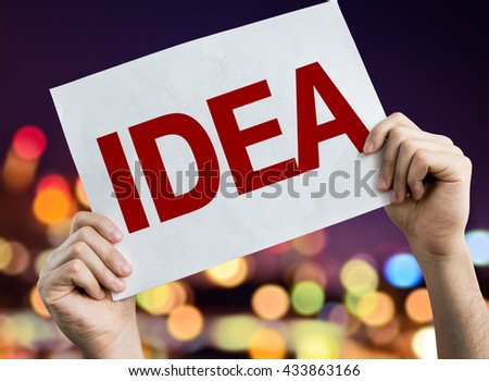 Idea placard with night lights on background