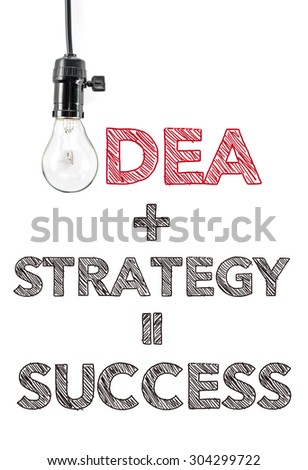 idea plus strategy equal success, hand writing, innovation business - stock photo