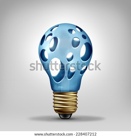 Idea problem concept and creativity crisis symbol as a lightbulb with empty holes as an icon for investing in new ideas and developing technology or thinking challenges and lack of imagination. - stock photo