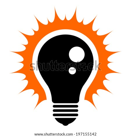 Idea! Simplified illustration of a glowing light bulb