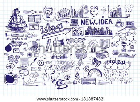 idea sketch background with elements drawn with pen sketches - stock photo