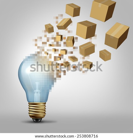 Idea to reality as a light bulb being digitally pixelated and the coded fragments transforming into packaged boxes of product as a business symbol for successful vision and visualizing goals. - stock photo