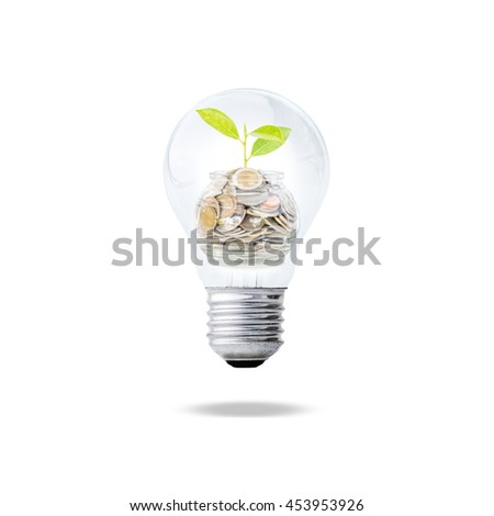 Idea to saving money concept, light bulb with coins and sprout inside