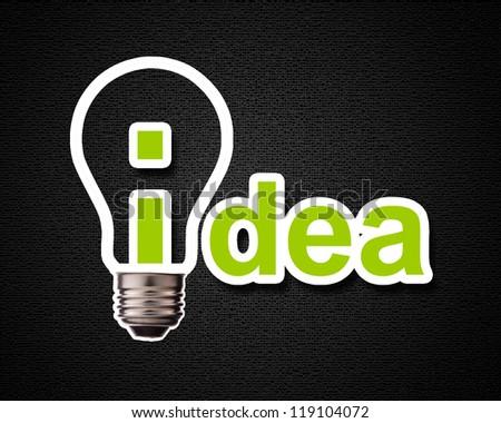 Idea word with lightbulb. - stock photo