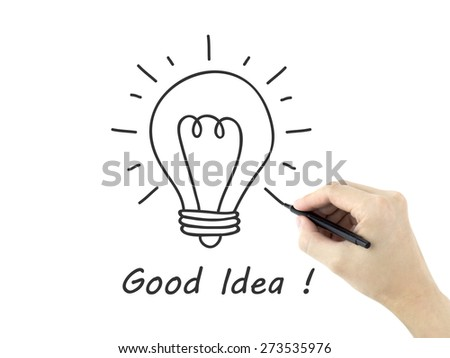 idea word written by man's hand over white background - stock photo