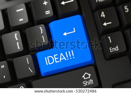 Idea Written on a Large Blue Keypad of a Black Keyboard. 3D Illustration.