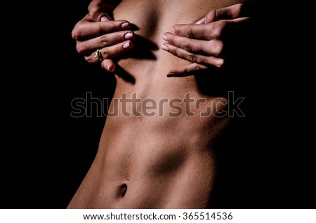 ideal sexy fitness body sweating - stock photo