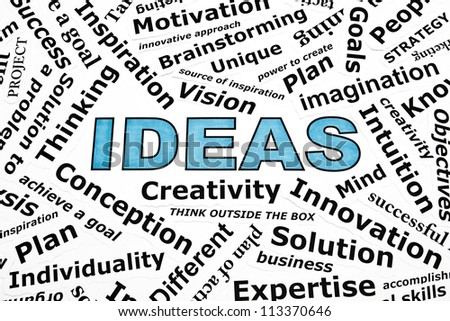 Ideas concept with other related words printed on paper - stock photo