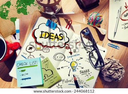 Ideas Designer Desk Architectural Tools Notebook Office Concept - stock photo