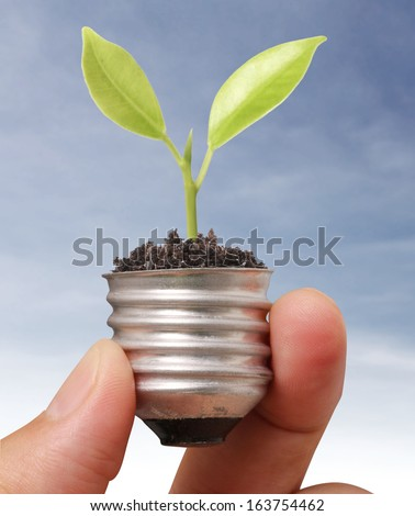 Ideas light bulb in the hand  - stock photo