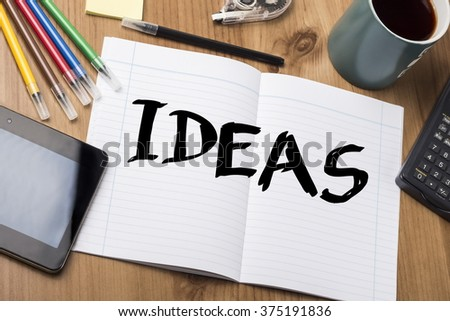 IDEAS - Note Pad With Text On Wooden Table - with office  tools