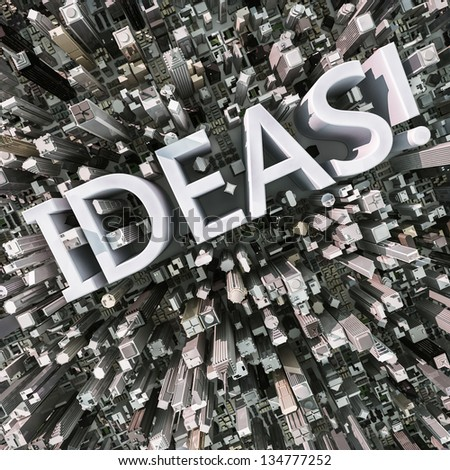 Ideas text in a 3d city aerial view - stock photo