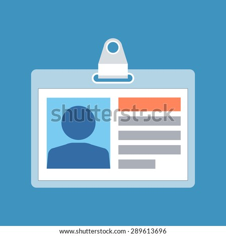 Identification card concept. Flat design. Isolated on color background - stock photo