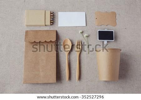 Identity branding mock up set, selective focus, Eco-friendly concept - stock photo