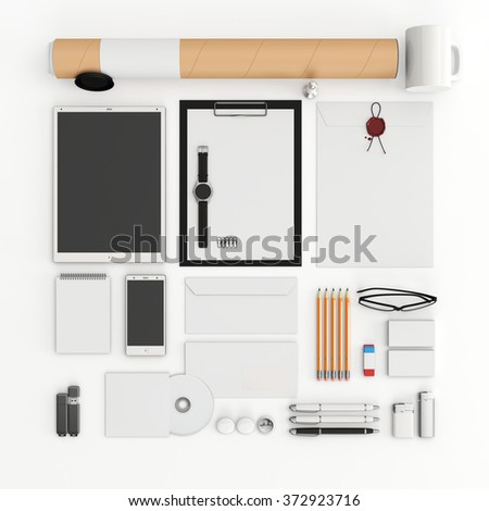 Identity mock up. Set of blank stationery for branding identity on white background. Flat lay. Tablet, smart phone, smart watch, paper A4, CD envelope, flash drive, business cards, tube. 3D render. - stock photo