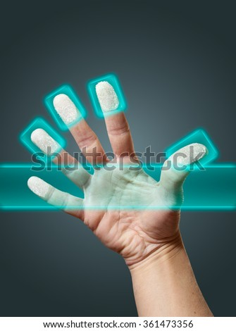 Identity scan simulation of fingerprints of an open hand - stock photo