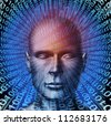 Identity theft technology security concept with a human head and digital  binary code background as a symbol of internet fraud and data protection from ID criminals. - stock photo