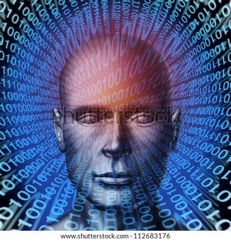 Identity theft technology security concept with a human head and digital  binary code background as a symbol of internet fraud and data protection from ID criminals.