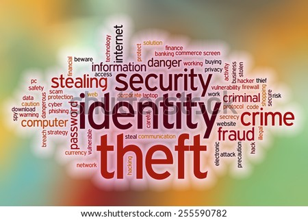 Identity theft word cloud concept with abstract background - stock photo