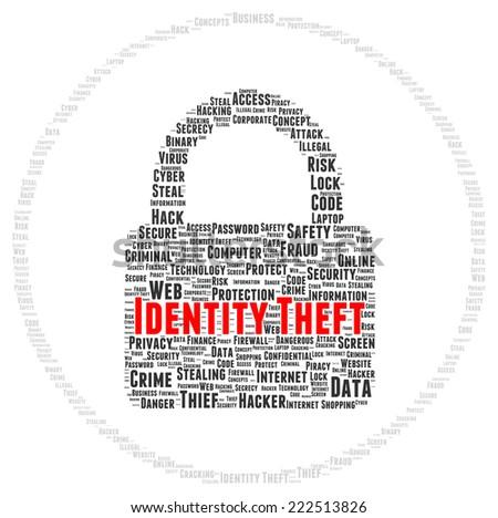 Identity theft word cloud shape concept - stock photo