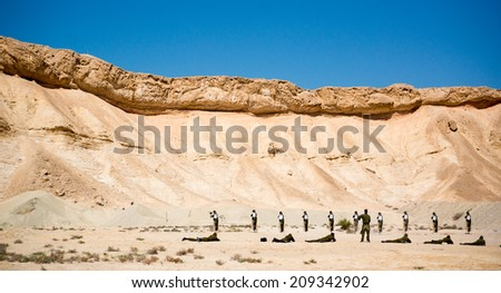 IDF military exercise in Israel war against terror - stock photo