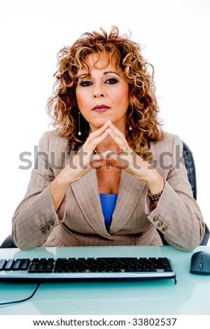 Idle manager at her office desk - stock photo