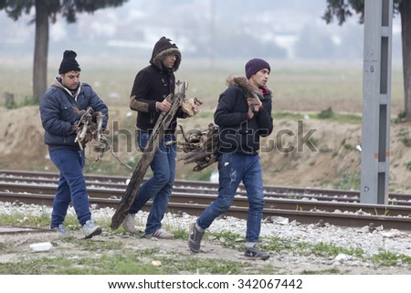 Idomeni, Kilkis, Greece, November 21 2015: Hundreds of immigrants are in a wait at the border between Greece and FYROM waiting for the right time to continue their journey from unguarded passages