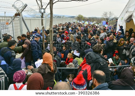 IDOMENI,MAKEDONIA/GREECE - MARCH 5: Refugees around the camp and the train station on the border of Greece - F.Y.R.O.M. on March 5 2016 in Idomeni - Greece